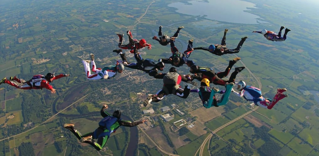group sky dive at fort atkinson airport