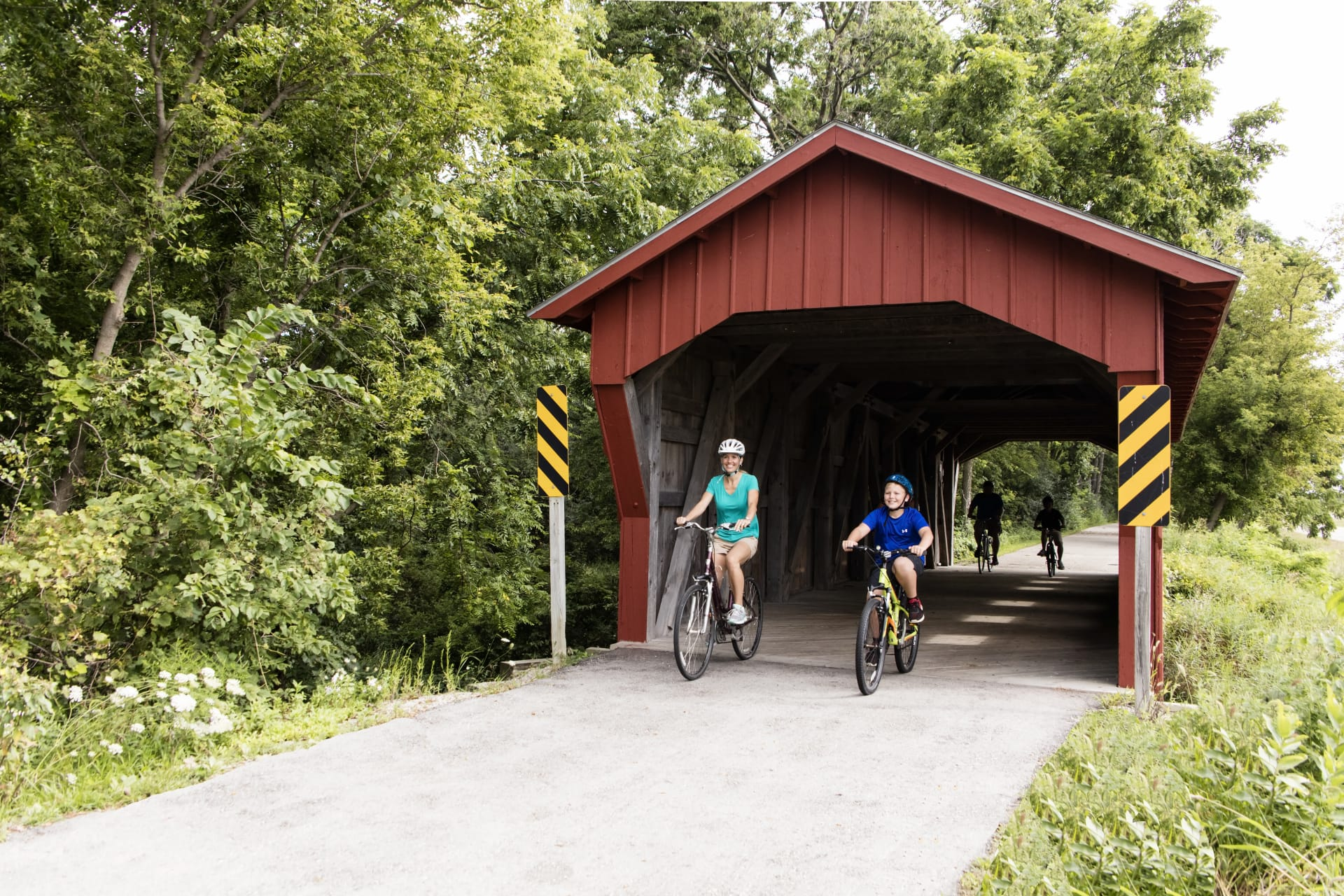Bike trail covered bridge