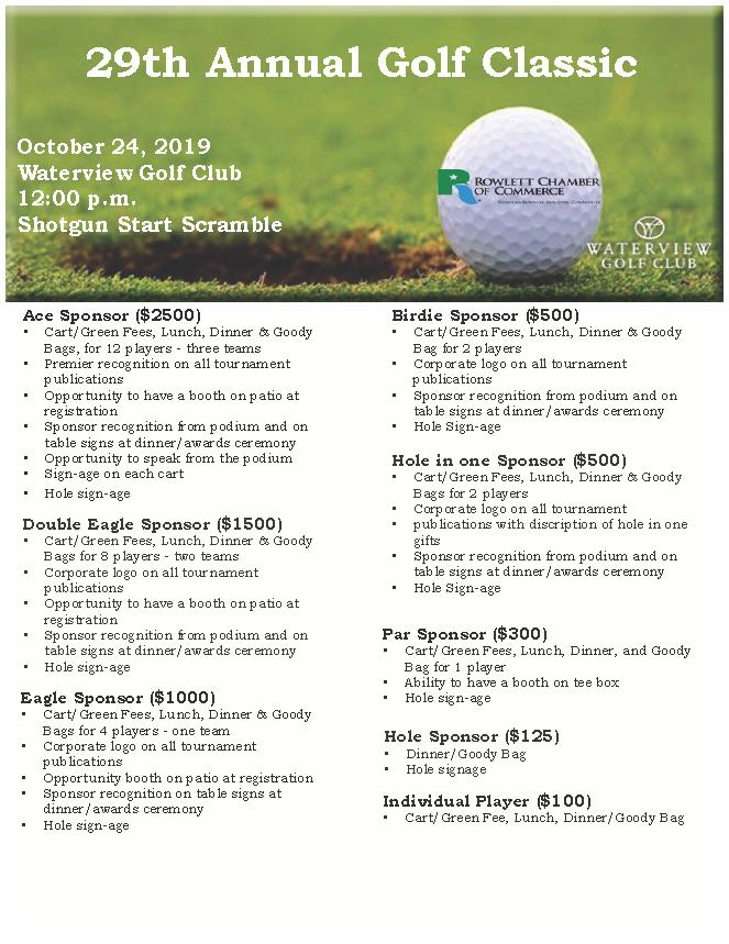 2019 Golf Sponsorships