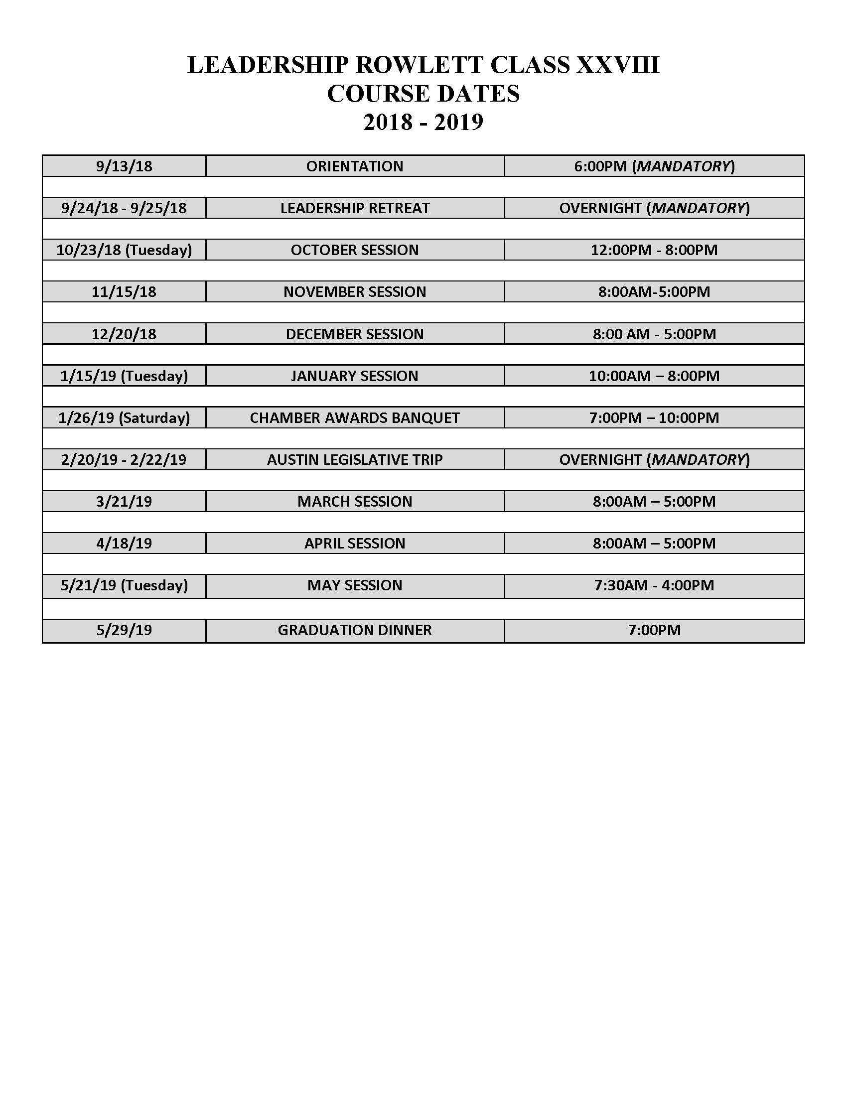 2018-2019 Leadership Rowlett Course Dates
