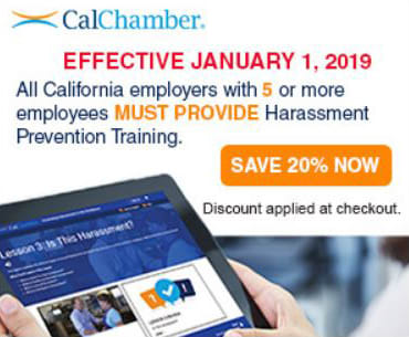 Save 20 percent on CalChamber Harassment Prevention Training