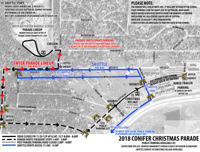 Conifer Christmas Parade Map, parking and parade line up