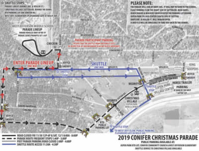 Conifer Christmas Parade Map, parking and parade line up