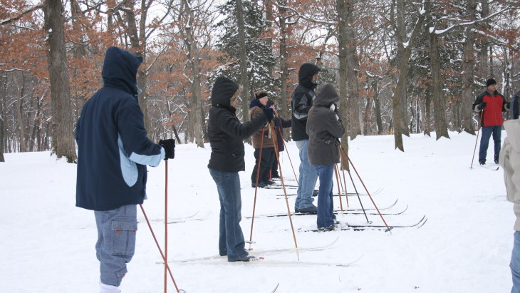 Folks cross country skiing at Matthieson Park