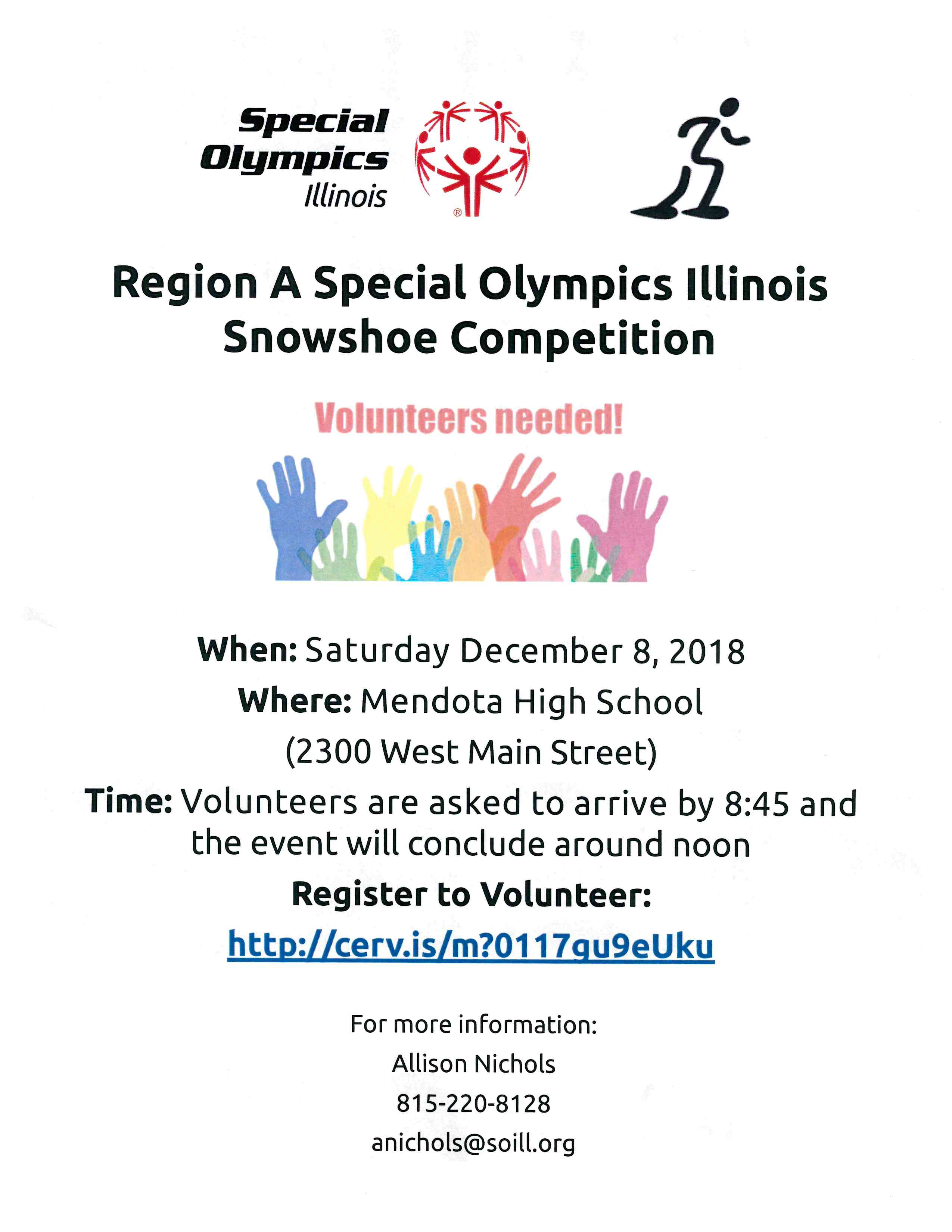 Special Olympics Snowshoe competion announcement