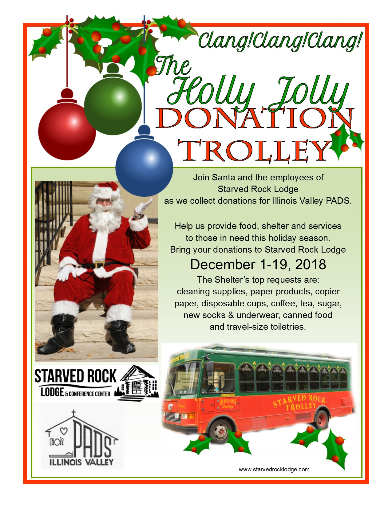 Holly Jolly Donation Trolley flyer