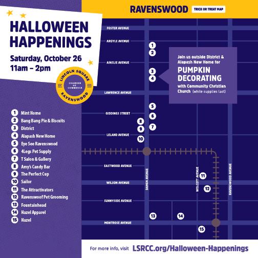 Halloween Happenings Ravenswood Trick-or-Treat Map