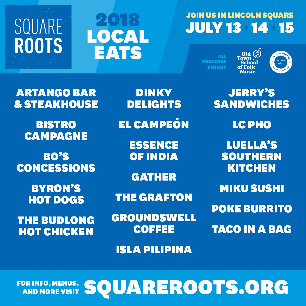 Square Roots 2018 Food Announcement
