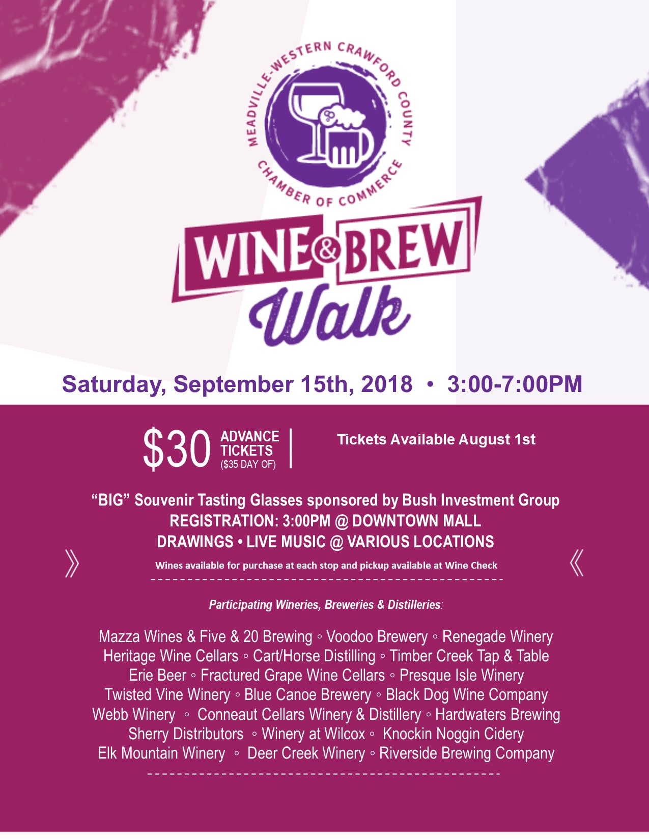 Meadville Chamber Wine and Brew Walk 2018