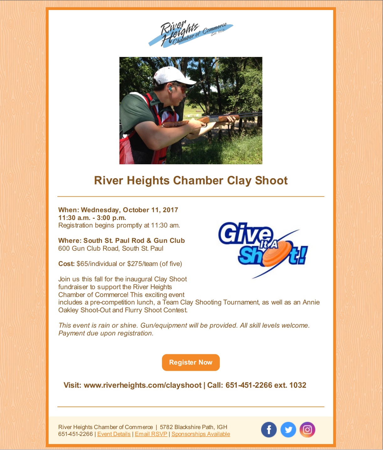 River Heights Chamber Clay Shoot 2017 Registration Flyer