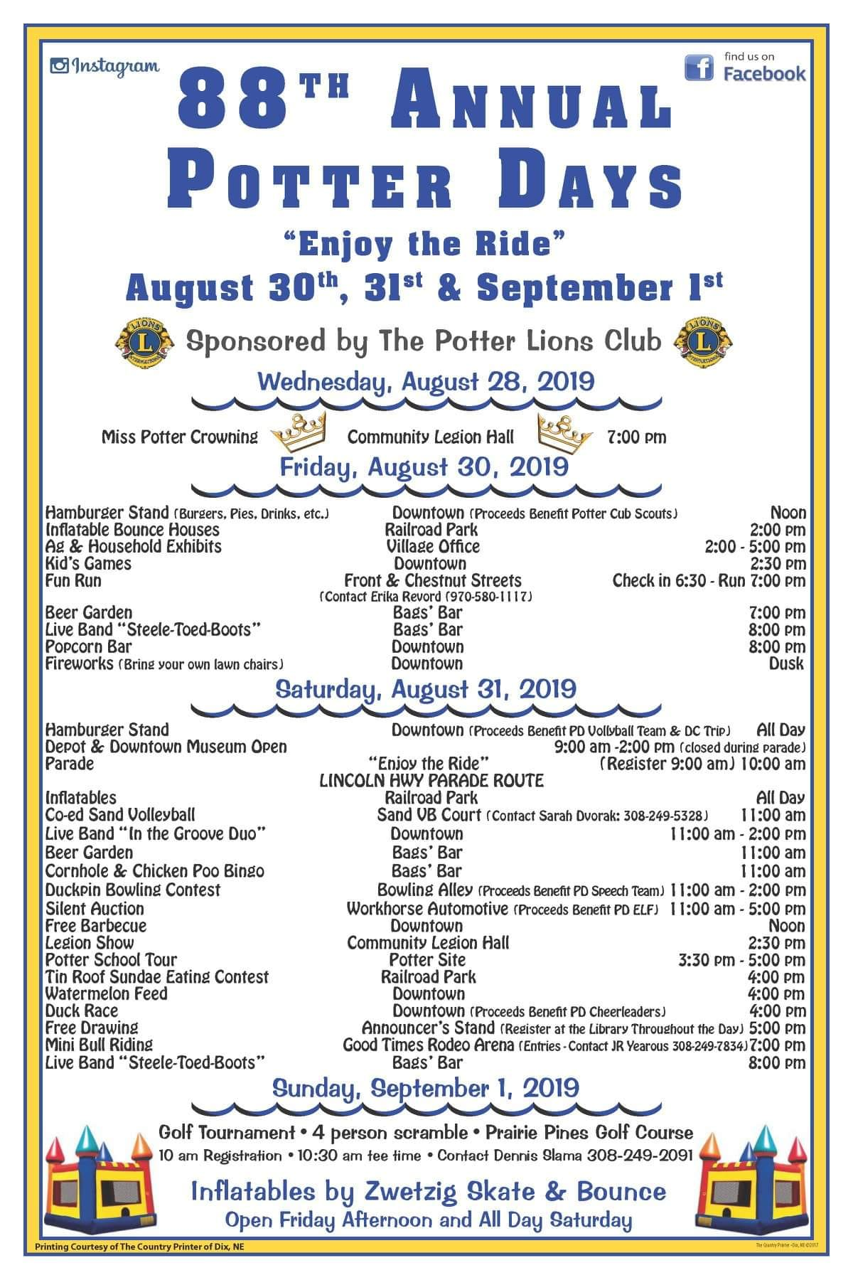 """Enjoy The Ride"" at 88th Annual Potter Days"