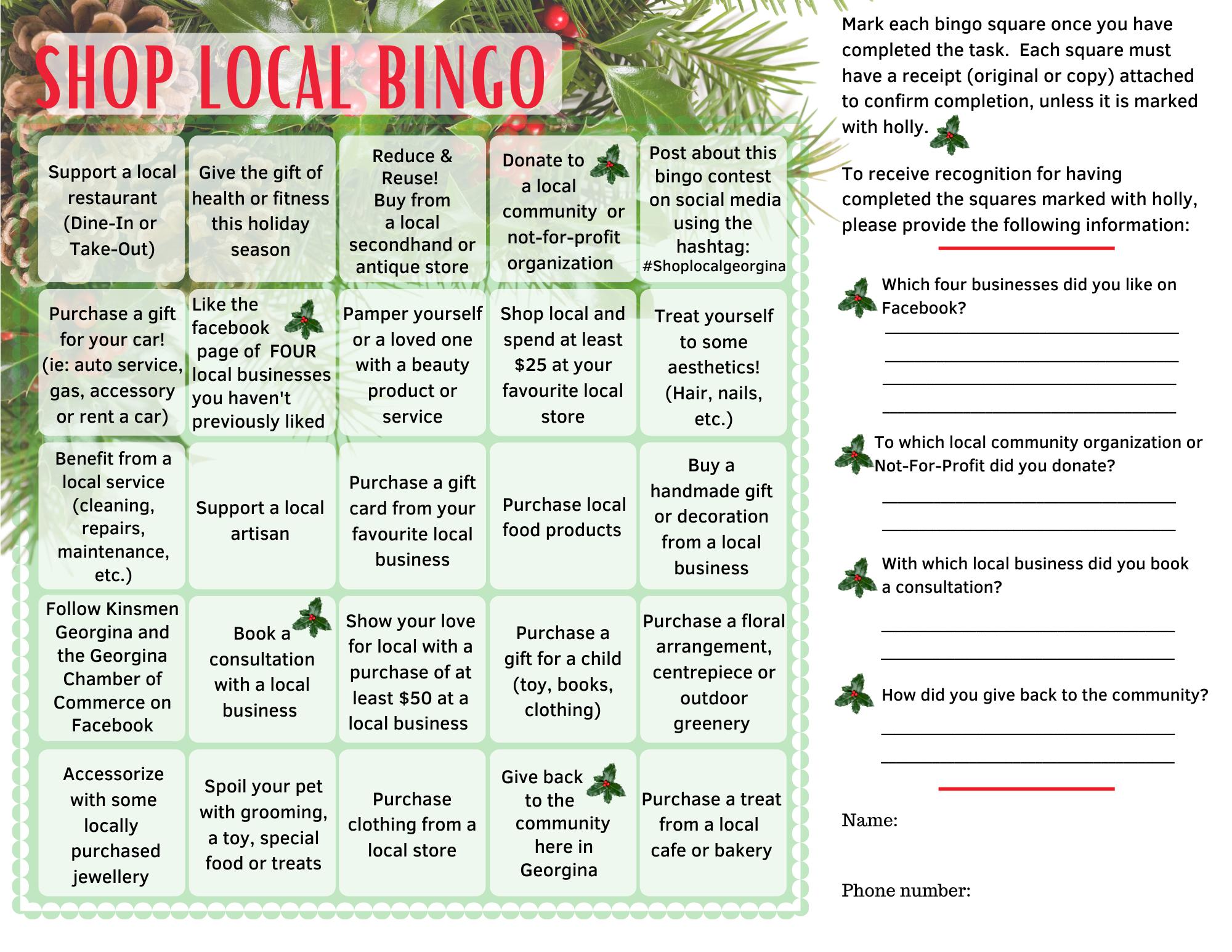 Shop Local Bingo Contest 2/2