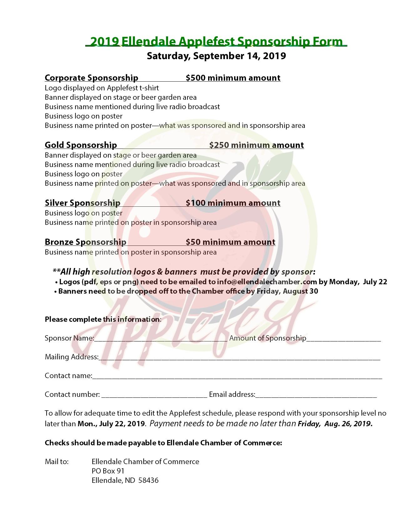 2019 Sponsorship Form