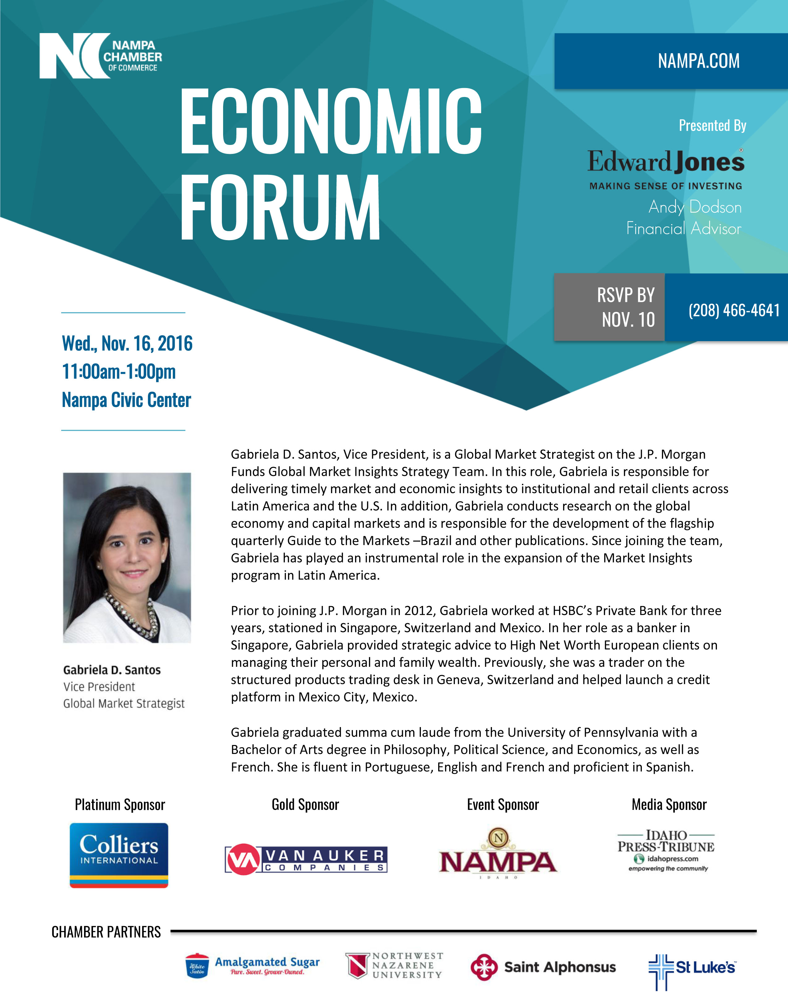 ECONOMIC FORUM 2016 presented by edward jones andy dodson nampa chamber of commerce
