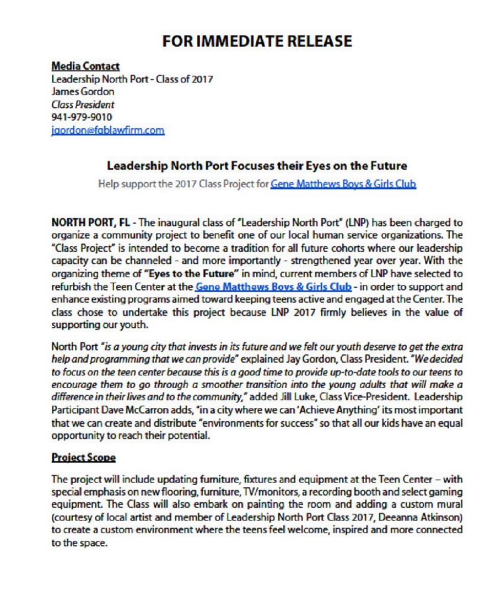 Press Release - Leadership North Port Focuses their Eyes on the Future
