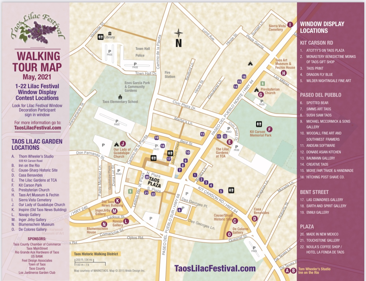 www.TaosLilacFestival.com  - Taos Lilac Walking Tour Map - Only this year!