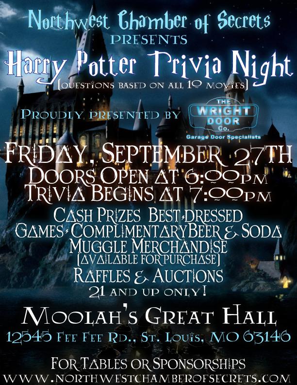 image regarding Harry Potter Trivia Printable titled Harry Potter Trivia Evening - Sep 27, 2019 - Northwest Chamber