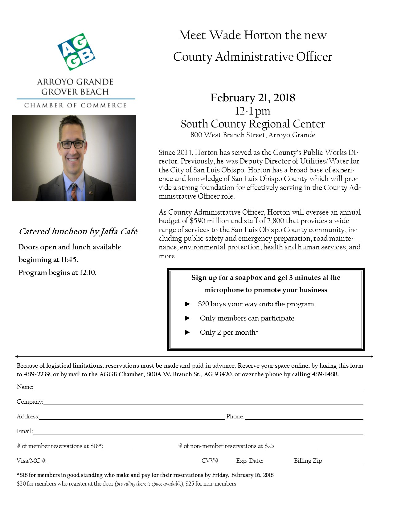 February 21, 2018 Chamber Luncheon with Wade Horton