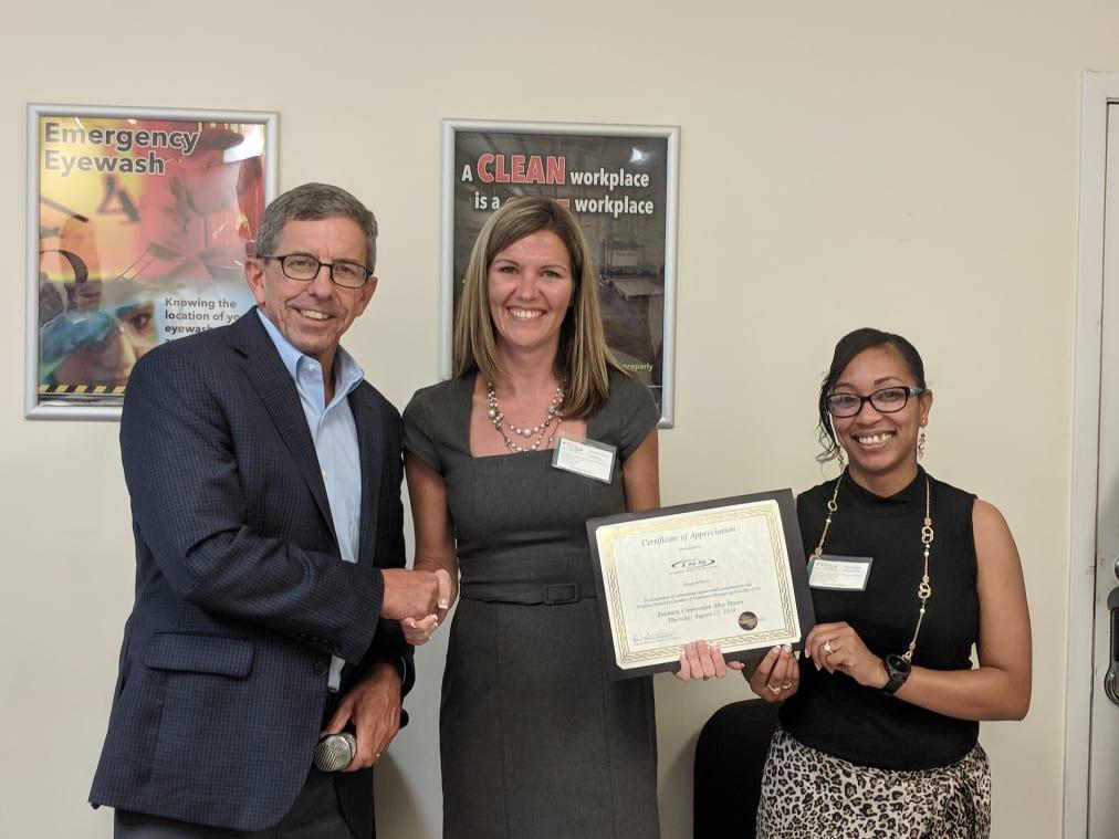 2019-0815-BCAH-Integrity-Staffing-Services-Certificate-Presentation.-Bob-McKenna.-Amanda-Davis-and-Dee-Mireles-from-ISS-w1012.jpg