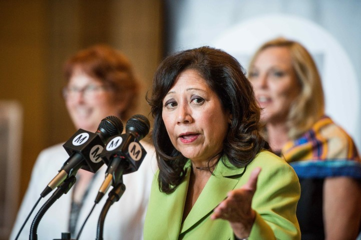 Supervisor Hilda Solis speaks during The Los Angeles County Metropolitan Transportation Authority Board's press conference announcing budget for the Metro Gold Line extension to Claremont on Thursday, June 22, 2017. The extension is the first to be built with Measure M half-cent sales tax. (Photo by Sarah Reingewirtz, Pasadena Star-News/SCNG)