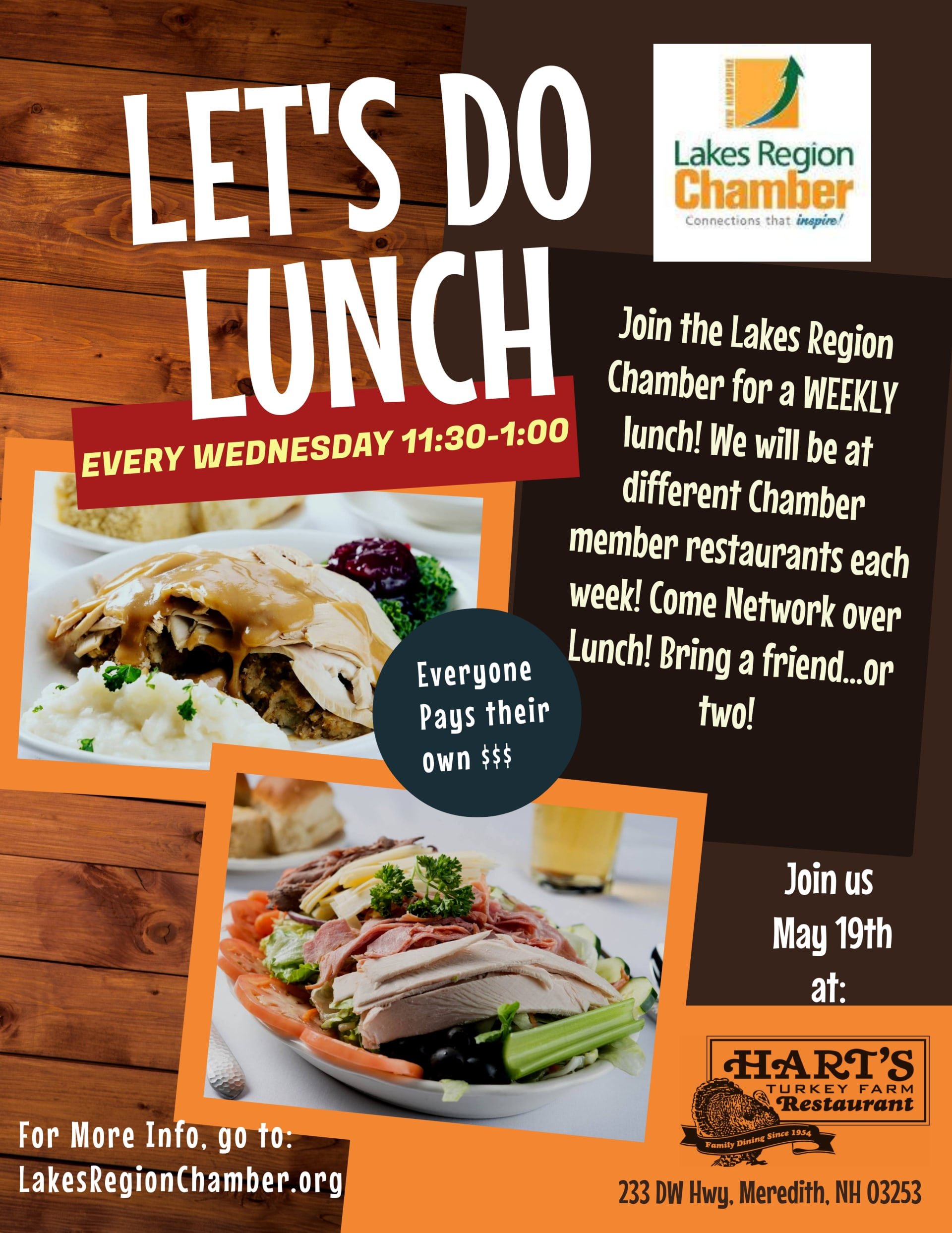 May 19th 11:30am-1:00pm: Let's Do Lunch at Hart's Turkey Farm Restaurant in person networking opportunity CLICK HERE TO LEARN MORE