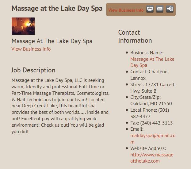 Massage at the Lake Job Posting