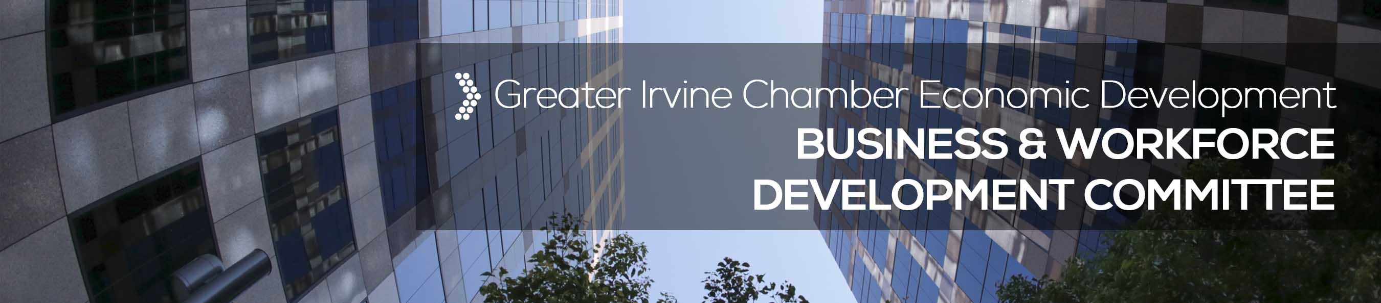 Corporate buildings with white text overlay reading: Business and Workforce Development Committee