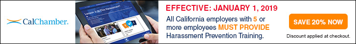 CalChamber Harassment Prevention Training banner with link to registration
