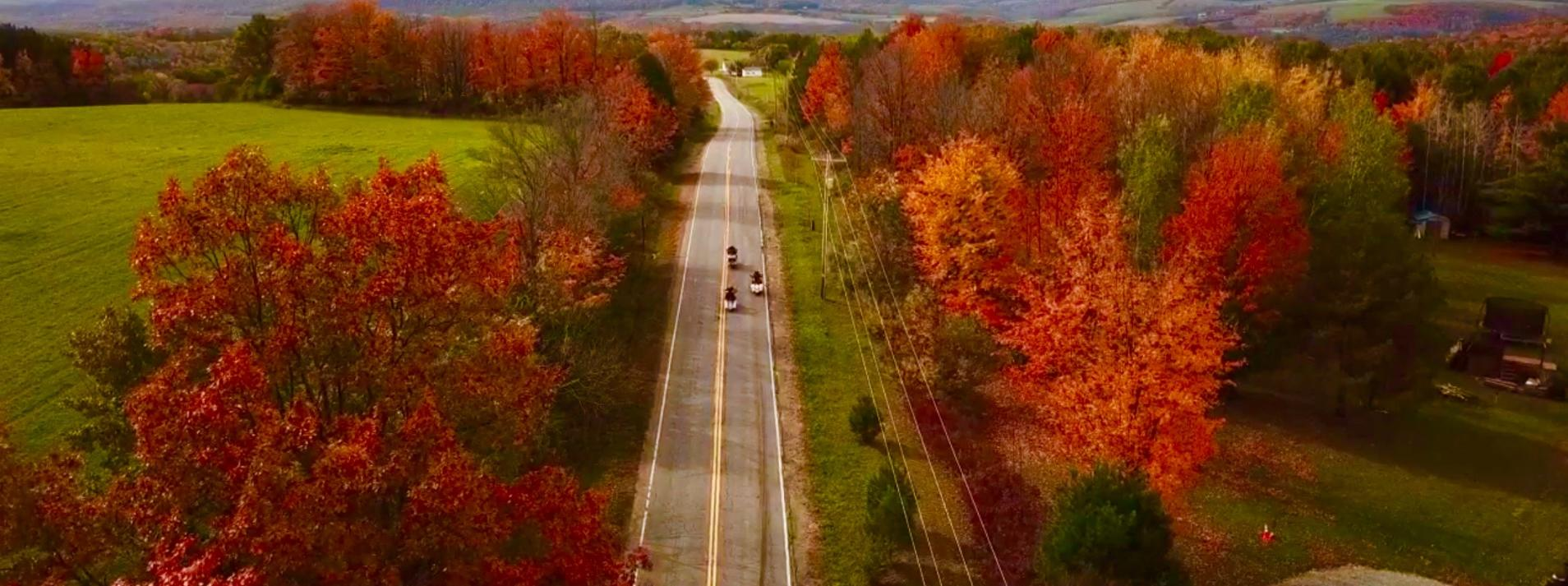 Aerial View of Corning NY in the Fall