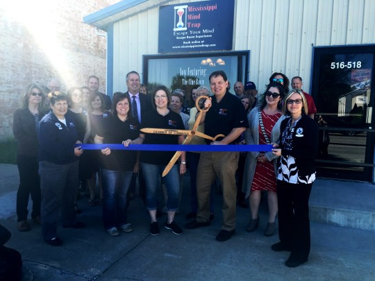Ribbon cutting for Mississippi Mind Trap Escape Room in Hannibal Missouri