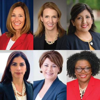 Top row, from right to left: Assemblymember Jacqui Irwin, 44th Assembly District; Jennifer Barrera, executive vice president, CalChamber; State Senator Melissa Hurtado, Senate District 14. Bottom row, from right to left: Maryam Brown, president of Southern Gas Company; Donna Lucas, CEO and president of Lucas Public Affairs; Sandra Floyd, president and CEO of OUTSOURCE Consulting Services.