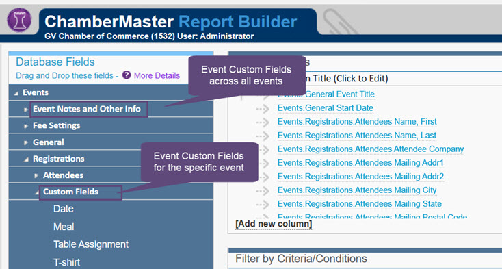 Event Custom Registration fields in Advanced Report Builder