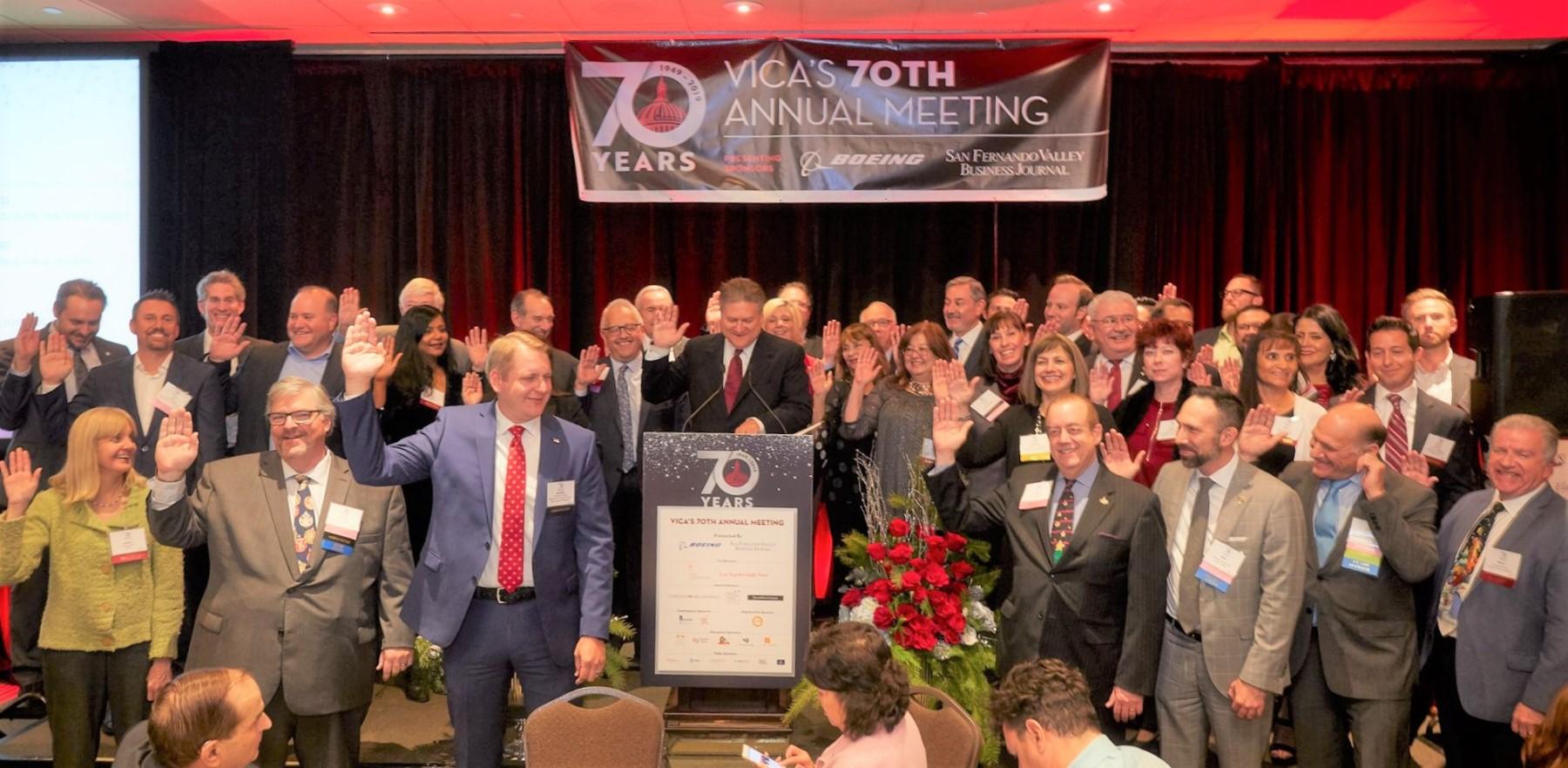 Senator Bob Hertzberg swearing in VICA's 2020 Board of Directors