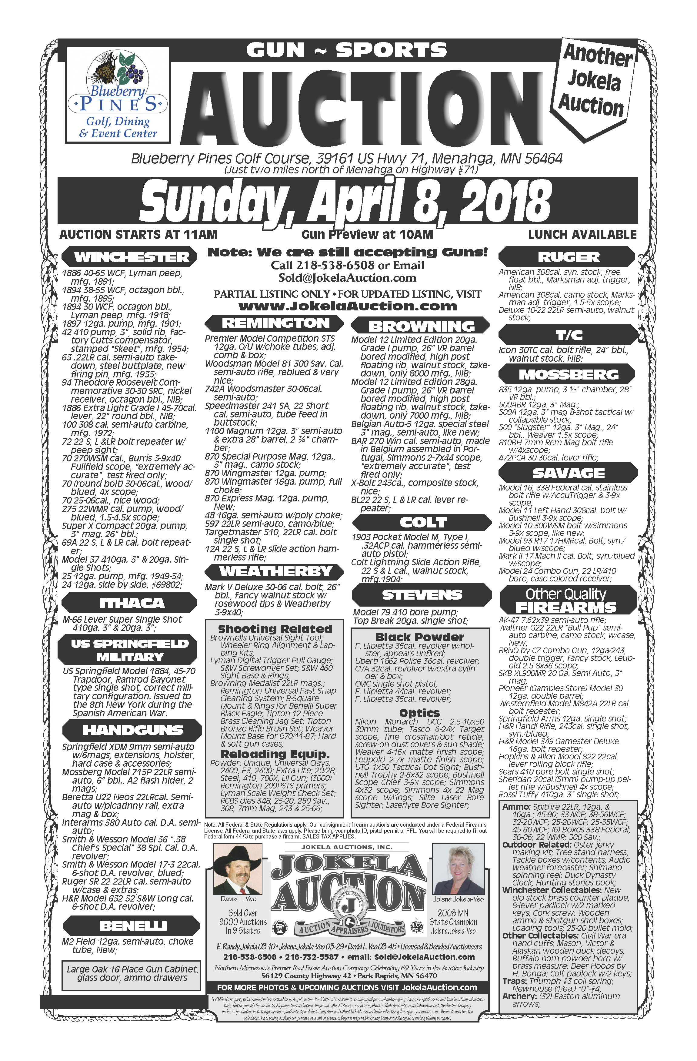 Jokela Auctions, Park Rapids - Gun - Sports Auction, April 8, 2018