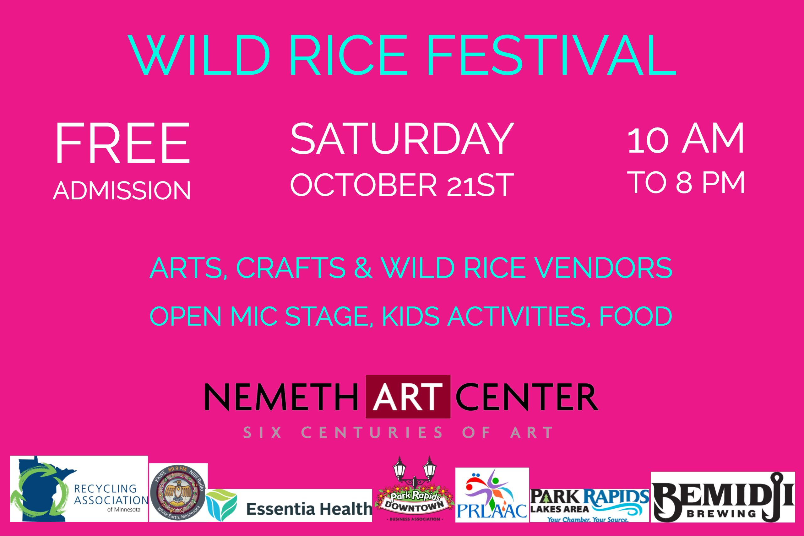 Wild Rice Festival 2017 - Free Admission, Saturday, Oct 21 - 10AM - 8 PM