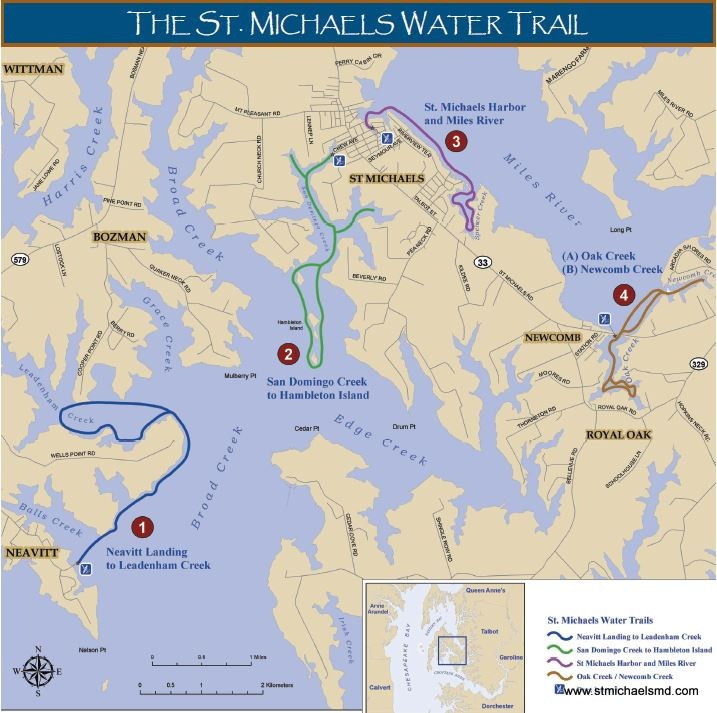 St Michaels kayaking water trail map