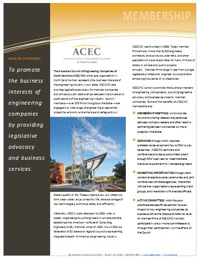ACEC/NC Member Benefits Pamphlet