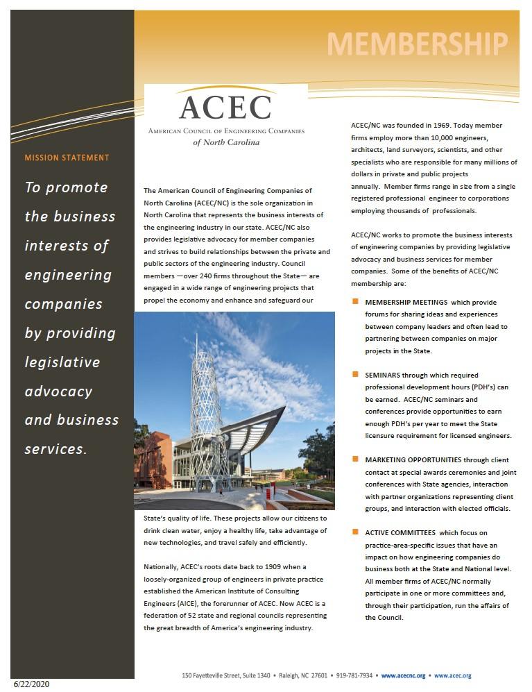 ACEC/NC Member Benefits Pamphlet
