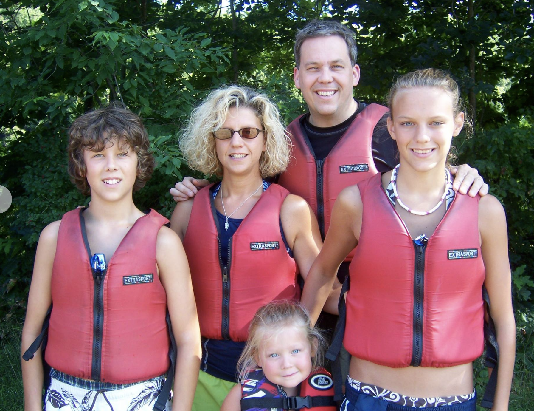 Clark Family Wearing Life Vests