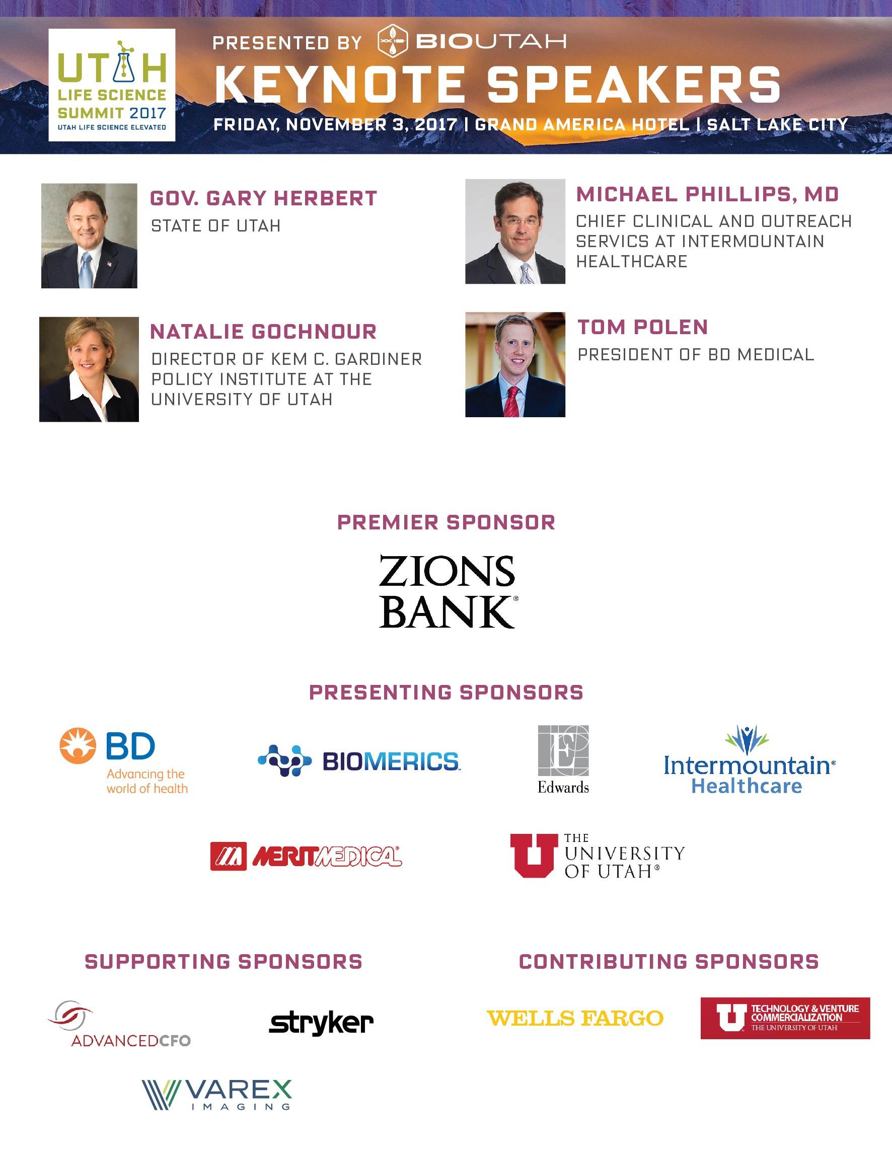 Utah Life Sciences Summit Keynote Speakers and Sponsors