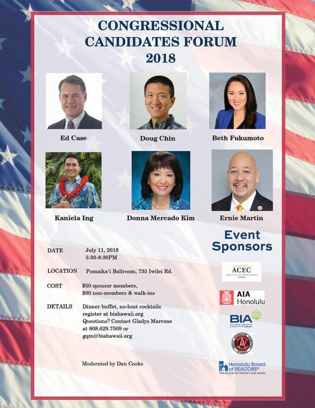 Congressional Candidate Forum 2018, Ed Case, Doug Chin, Beth Fukumoto, Kaniela Ing, Donna Mercado Kim, Ernie Martin