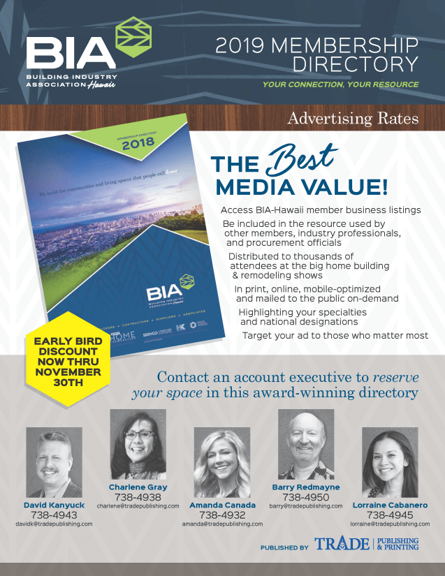 BIA-Hawaii 2019 Membership Directory Rate Sheet Trade Publishing