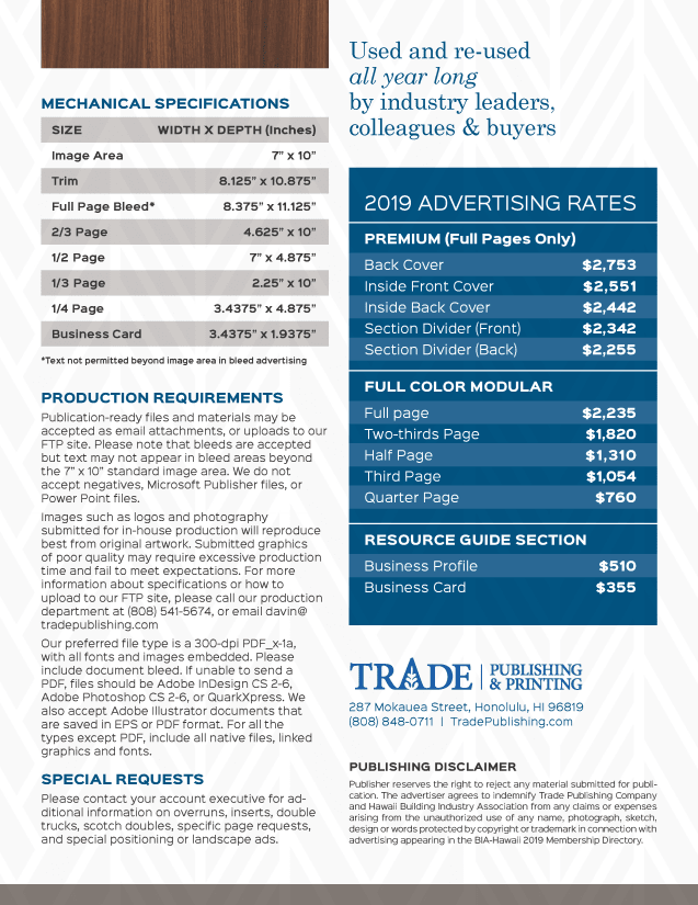 BIA-Hawaii Rate Sheet 2019 Membership Directory and Rate Sheet Trade Publishing