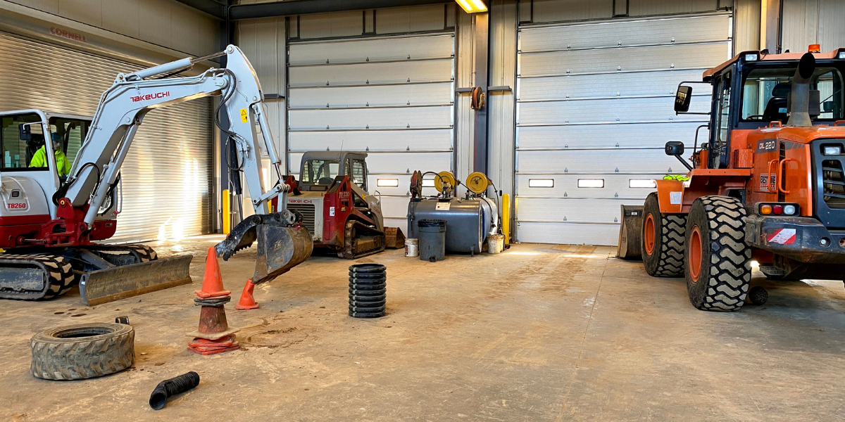 Heavy construction equipment training area