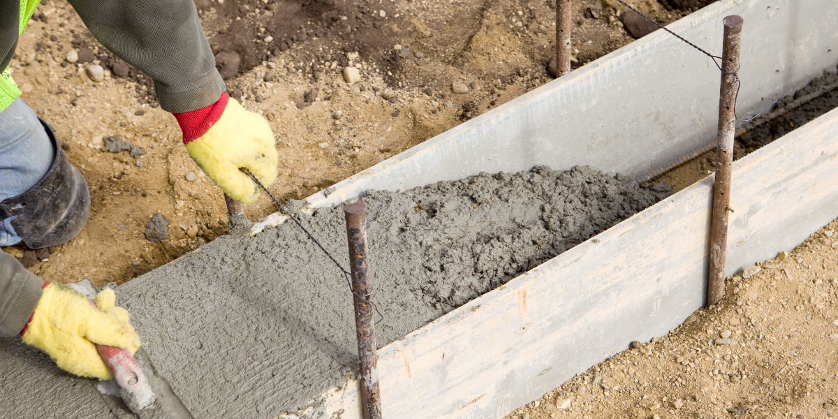 concrete leveling in a trough