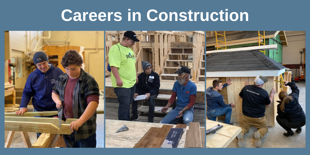construction students working with mentors