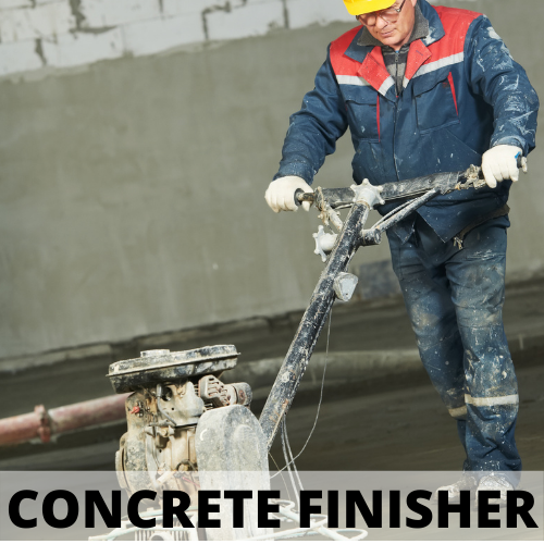 man finishing concrete