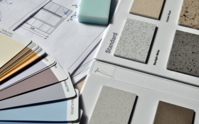 Building plan, paint and counter samples