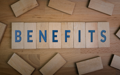 benefits spelled out on wood blocks