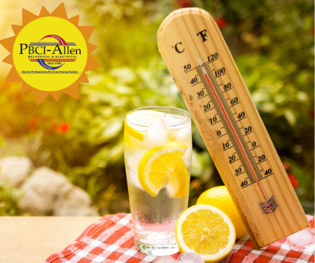 PBCI-Allen logo in sun iced lemon water on table with a thermometer